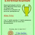 Urkunde Alter Fritz