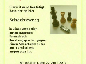 Muster-Urkunde für die 7 Schachzwerge
