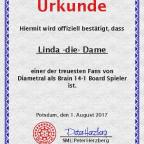 Urkunde Linda die Dame