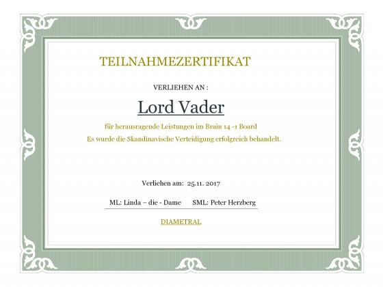 Teilnahmezertifikat Lord Vader