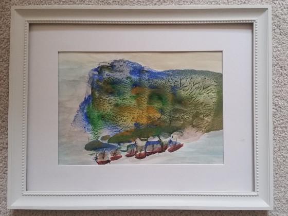 Abklatschtechnik in Öl , eine Insel im Meer mit Booten