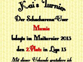 Urkunde Kai Turnier 2013
